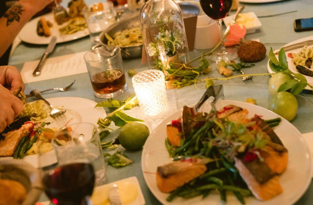 Table served with food